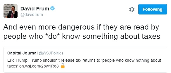Eric Trump says only experts should see Donald Trump's taxes_Twitter reax