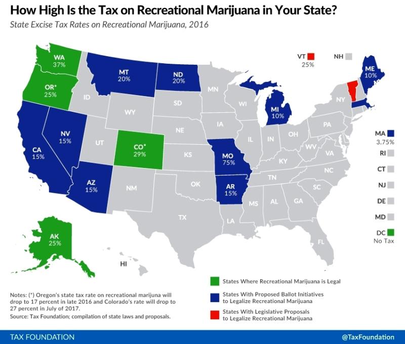 Marijuana recreational use taxes map_Tax Foundation May 2016