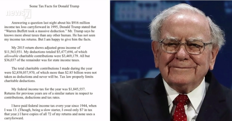 Warren Buffett letter re his taxes to Donald Trump
