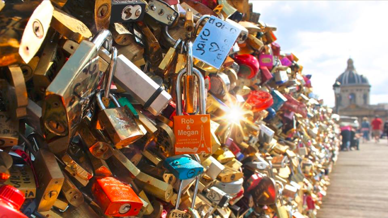 Love Locks on Paris bridge over Seine River May 2015  by Megan Easley via Facebook