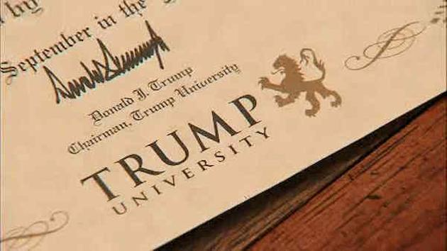 Trump University diploma certificate signed by Donald J Trump