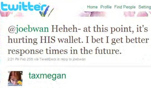 Joebwan taxmegan twitter exchange re clients