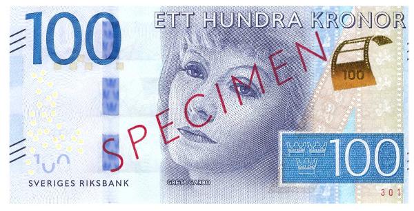 Sweden 100 Kronor note_GretaGarbo_front