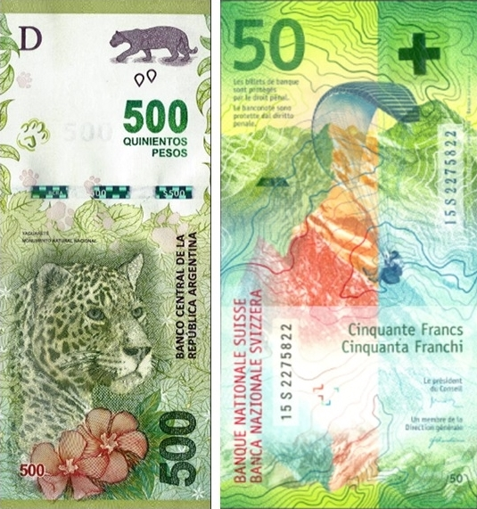 Argentina and Switzerland IBNS 2016 banknote of the year nominees