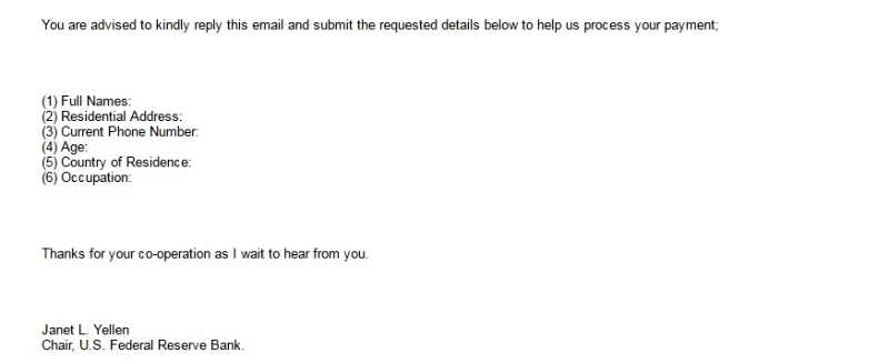 Janet Yellen scam email pt2