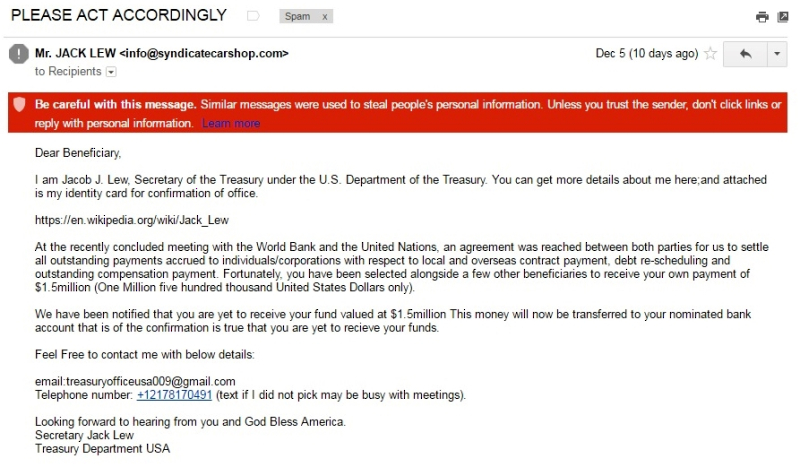 Jack Lew scam email