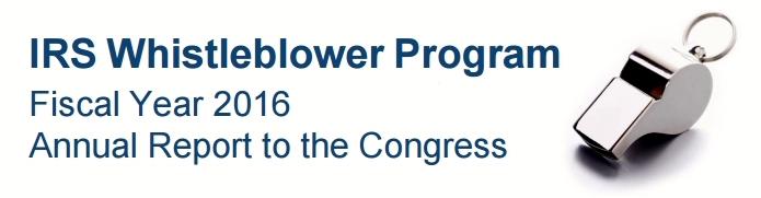 IRS Whistleblower Program FY16 report