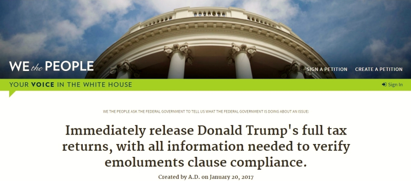 We the People White House petition seeking Donald Trump tax returns
