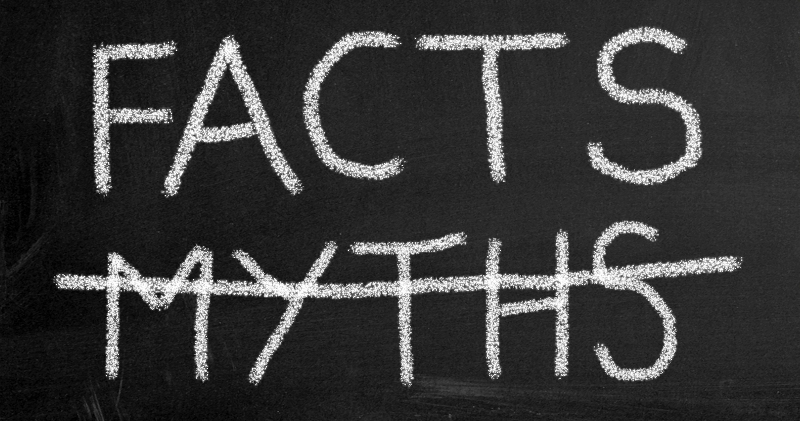 Facts vs myths blackboard words