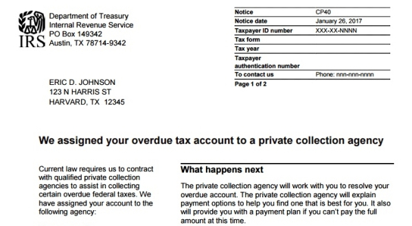 irs letter announcing latest private tax debt collection effort going out to affected taxpayers