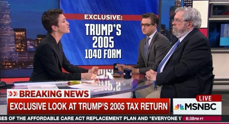 Rachel Maddow Chris Hayes David Cay Johnston talk DJTrump 2005 taxes