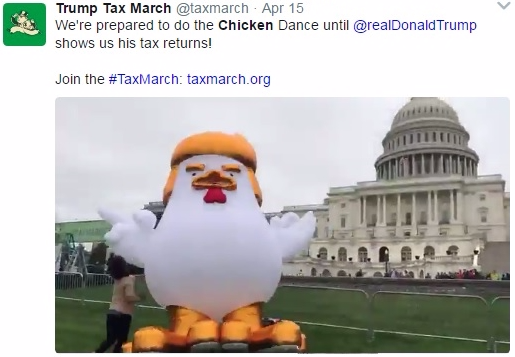 Trump chicken being inflated on US Capitol grounds via Tax March Twitter_click for video