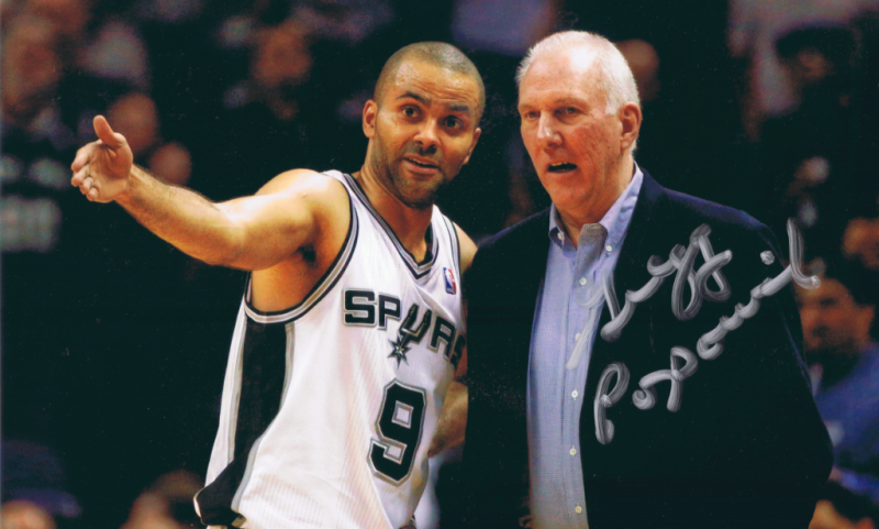 Tony Parker and Gregg Popovich from Daniel Lewis autograph collection