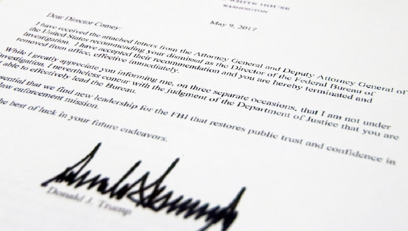 Comey You're Fired termination letter from Trump
