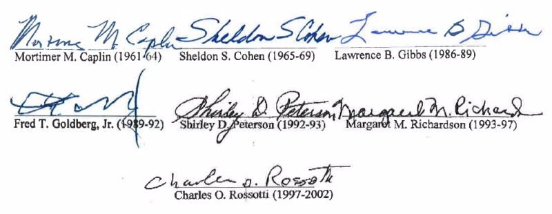 Former IRS commissioners signatures on dont cut IRS budget letter