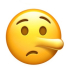 Emoji Pinocchio nose lying