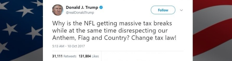 DJTrump tweet re NFL taxes_10-10-17