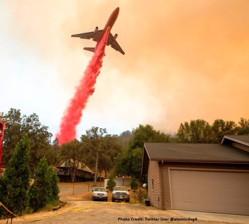 Plane drops fire fighting treatment on Napa-Sonoma County fire_via CAL_FIRE Twitter