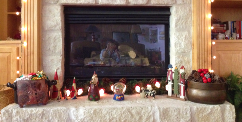 Mantel decorations Santa head lights