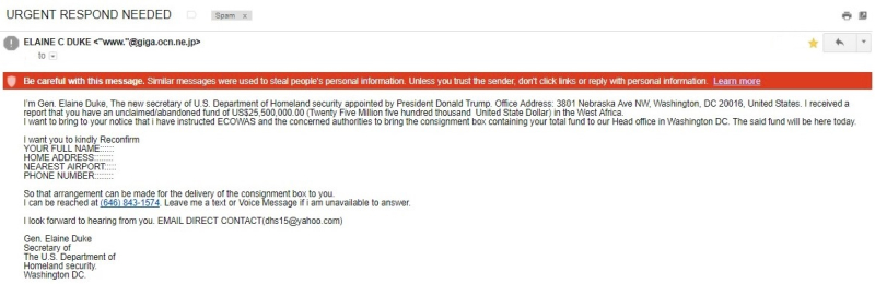 Elaine Duke ID theft phishing scam email
