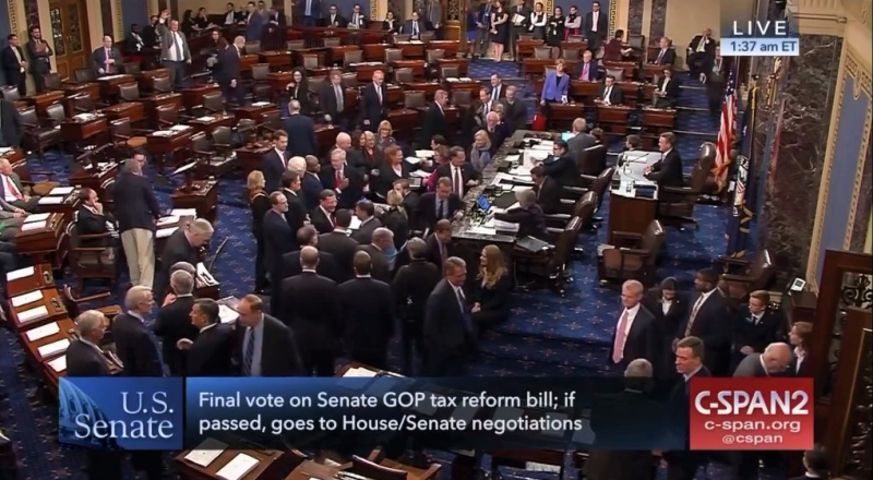 Senators cast final votes on their tax reform bill 120217_C-SPAN2 screenshot