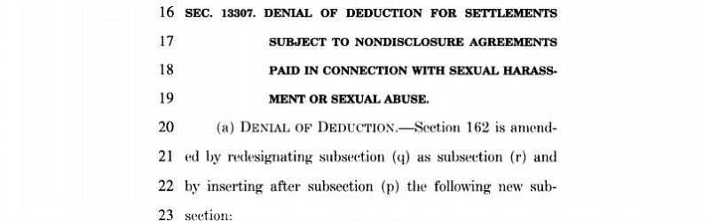 Sexual harassment settlement tax deductions axed in tax reform bill