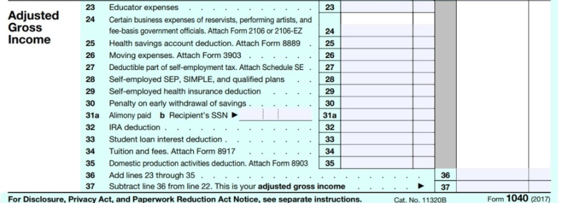 Form 1040 adjusted gross income section 2017