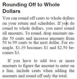 Rounding off to whole dollars IRS instructions