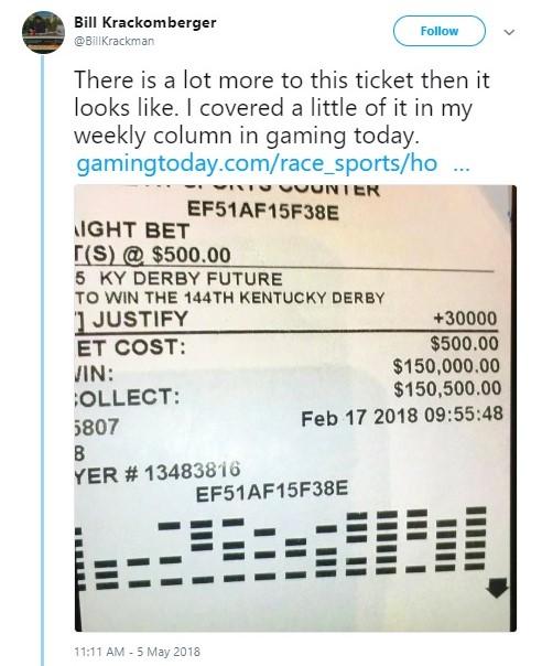 Wynn casino futures bet winning Kentucky Derby slip_Bill Krackomberger via Twitter