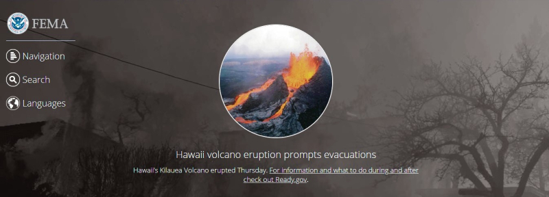 FEMA home page featuring Hawaii volcano eruption