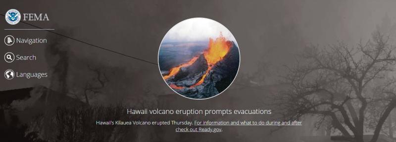 FEMA home page featuring Hawaii volcano eruption