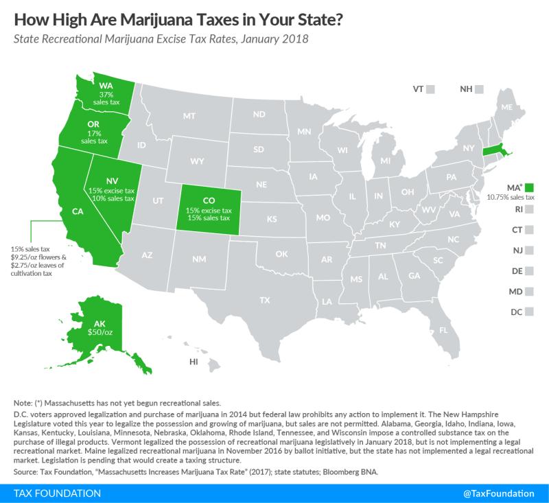 Marijuana US taxes for recreation use map_Tax Foundation