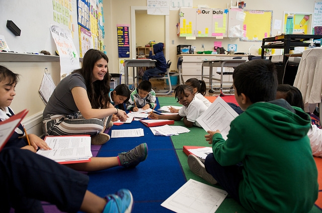 Teacher and students classroom photo courtesy Department of Education