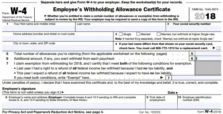 Irs Releases Draft W 4 To Reflect Tax Law Changes Don T