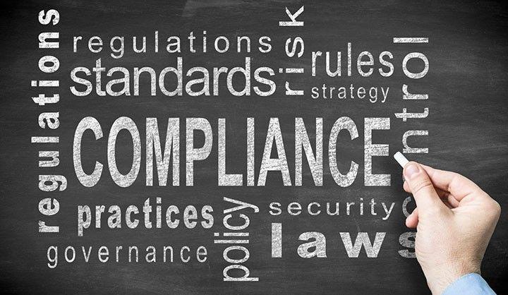 Regulation oversight compliance chalkboard word cloud