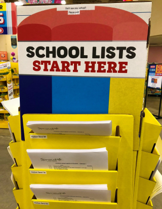 School lists display at local grocery story_Kay Bell photo