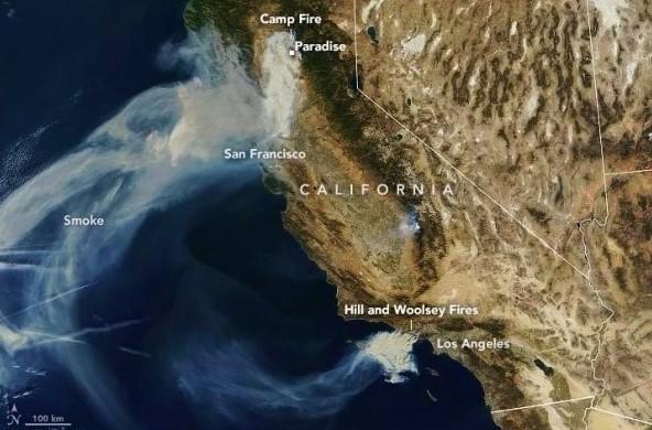 California fall 2018 wildfire smoke as seen by NASA