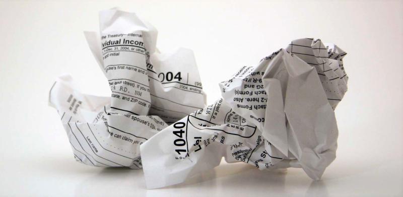 Crumpled tax return form