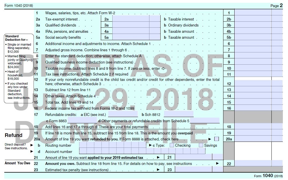 1040 Form 2017 Page 2 >> A Look At The Proposed New Form 1040 And Schedules Don T