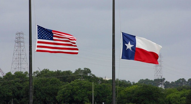 US and Texas flags at half staff_Wil C Fry via Flickr
