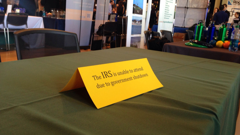 IRS absence from a job fair in 2013 due to government shutdown