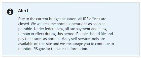 IRS office closure notice on IRS-dot-gov