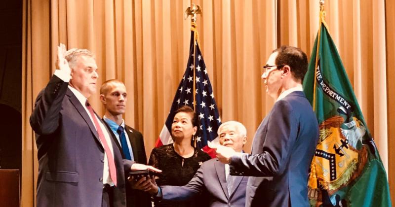 Charles Rettig sworn in Oct 1 2018 as IRS commissioner by Treas Sec Steven Mnuchin_Twitter
