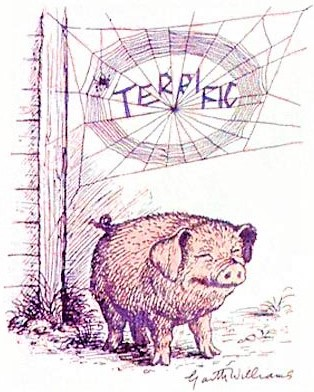 Wilbur the pig christened terrific by spider Charlotte_Garth Williams drawing
