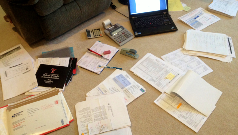 My floor stack tax filing organization system_Kay Bell photo