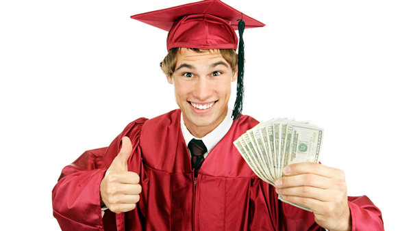 Graduate in cap and gown holding money