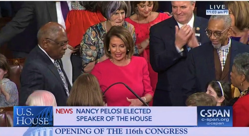 Rep Nancy Pelosi D-California Elected Speaker of House 116th Congress Jan 3 2019