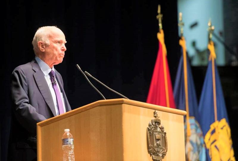 Sen John McCain addresses Naval Academy Brigade of Midshipmen October 2017