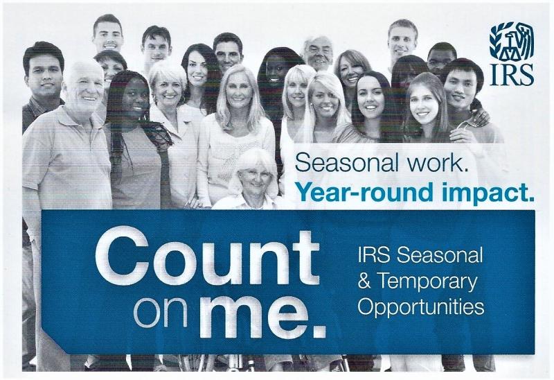 IRS seasonal job postcard 2018