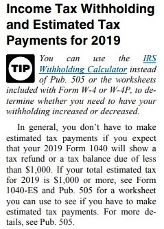 Withholding and ES payments_Form 1040 instructions 2018